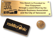 Engraved brass tags